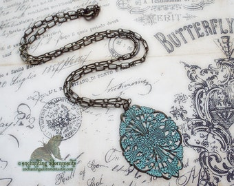 Bohemian Gypsy Boho Rustic Aged Patina Filigree Necklace with aged brass