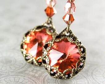 Peach Crystal Earrings Swarovski Apricot Crystal Earrings Antique Gold Dark Peach Drop Earrings Peach Dangle Earrings