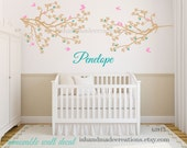 Cherry blossom wall decal /  nursery wall decal /  birds with name and  branch Wall sticker /  birds Nursery wall decal  /   made in USA