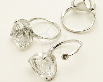 RR-011-OR / 1 Pcs - Volume Glass Stone and Pearl Cup Ring Base (Adjustable), Silver Plated over Brass / Free Size