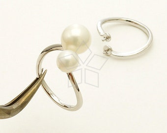 RR-013-OR / 2 Pcs - Tiny Double Pearl Cups Ring Base (Adjustable), Silver Plated over Brass / Free Size