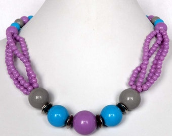 Acrylic Beaded Purple, Turquoise Blue and Gray Necklace  Apparel & Accessories Jewelry Vintage Jewelry Necklace