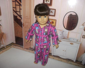 "Disney FROZEN ELSA ANNA Princess flannel pajamas fits 18"" American Girl doll"