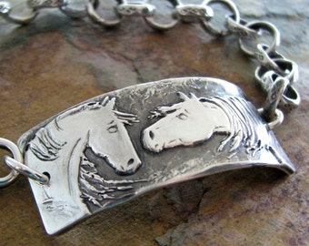 Artisan Horse Jewelry, Reaching Out, Handmade Fine Silver Horse Link with Chunky Chain Bracelet by SilverWishes