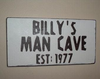 shabby chic distressed personalised man cave sign plaque