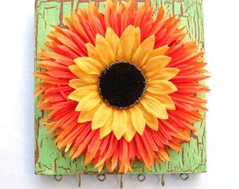 Jewelry organizer - Orange and Yellow sunflower