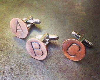 Custom INITIAL Cuff Links - Personalized Cufflinks - Hand Stamped Copper - Any 2 LETTERS - Initials, WEDDING Groomsmen Groom
