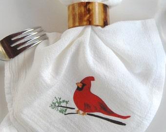Cardinal Bird, Flour Sack Napkins, Holiday Dining Decor, Table Top Garden Decor, Holiday Hostess Gift, Birding Gift, Audubon Gift, Gift Shop