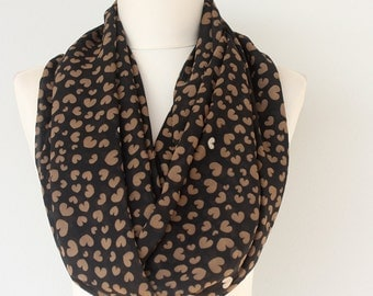 Heart scarf valentines day infinity scarf black chiffon scarf gift idea for her