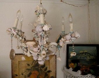 Vintage French Chandelier ~ Grotto SHELL ART ~ 6 Candlelabra Lights ~ Beachy Cottage Chic ~ French Country