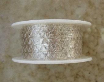 Italian Mesh Ribbon, White Silver 3mm 5 Yard Spool, Wire Lace, Wire Mesh Ribbon, Tubular Mesh Ribbon, Mesh Ribbon, Wedding Jewelry