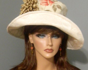 Floppy Hat - Twill - Handmade - Floral Print - Heavily Embellished - Lined