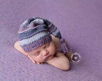 Newborn Baby Girl Tassel Cap, Purple Newborn Sleepy Cap, Baby Girl Stocking Cap, Newborn Baby Girl Photo Prop, Photography Props