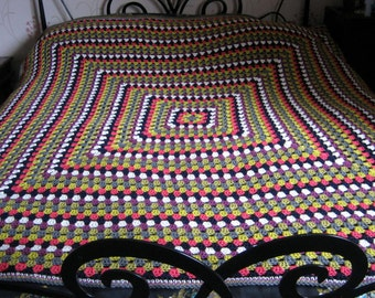 Huge Large Crochet Blanket Granny Square Afghan Throw Three Sizes