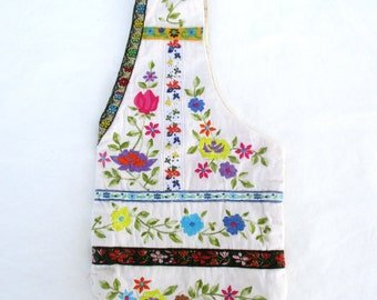 Recycled Bag Purse Repurposed Vintage Handmade Boho Sack Bag with Flowers Embroidery