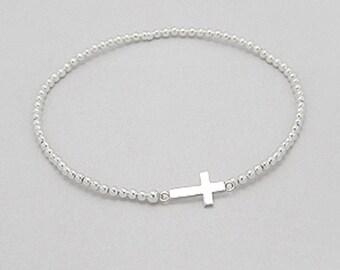 Sterling silver sideways cross bracelet, stretch bracelet