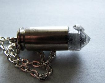 Black Phantom Quartz Crystal Silver Bullet Jewelry Pendant