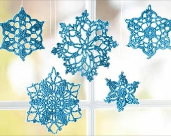 5  Crochet blue Snowflake Ornaments -Christmas tree