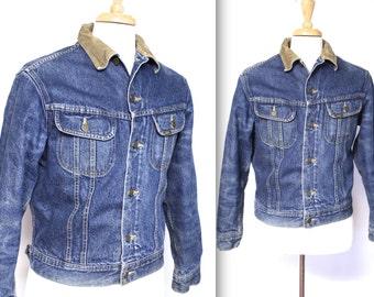 Vintage 1960s Lee Jacket // 60s Lee Storm Rider Blanket Lined Denim Jacket with Corduroy Collar