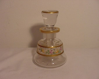 Vintage Hand Painted Glass Perfume Bottle  14 -83
