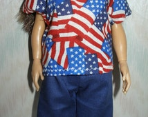 Handmade doll clothes - flag top and shorts set
