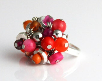 Industrial Pink Beaded Cluster Adjustable Ring - Colorful Hot Pink Magenta Red Orange Tangerine Silver Ring Bright Vibrant Fun