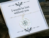 Sale compass necklace with message card,Infinity compass necklace,Friendship necklace,Graduation gift,best friends,bridesmaid gifts