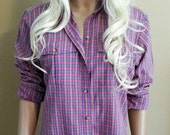 Pink and Purple Check Long Sleeve Button Up Blouse