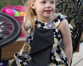 Yellow floral ruffle front dress - Size 6-7 - READY TO SHIP