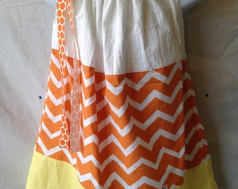 Candy Corn Pillowcase Dress - Size 3T - READY to SHIP