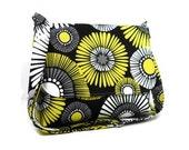 Daisy Purse, Black and Yellow Messenger Bag for Women, Fabric Crossbody Bag, Cross Body Pocketbook, Floral Handbag, Cotton Bag, Fabric Purse