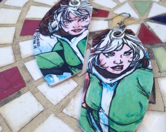 X-Men Rogue Comic Earrings - Dangerous Beauty double sided hand painted and vintage comic book earrings