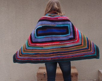 Upcycled Recycled Repurposed Afghan Blanket Shawl Poncho Cape Wrap Multicolored Stripes Boho Tribal Fashion