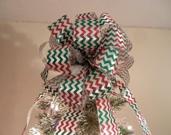 Large Christmas Tree topper bow red and green chevron stripe on white ribbon