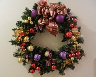 Christmas Wreath Purple red and gold ornaments and matching bow