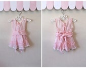 vintage 1950s baby dress - COTTON CANDY pink sheer party dress / 12M