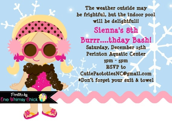 winter pool party birthday invitation printable by onewhimsychick