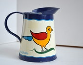 Vintage German Folk Navy Blue Paint Style with Bird and Heart Mini Pitcher by Bob Uihlein