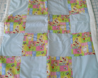 Easter Baby Blanket - checkerboard - cotton with flannel backing - handmade - only one available