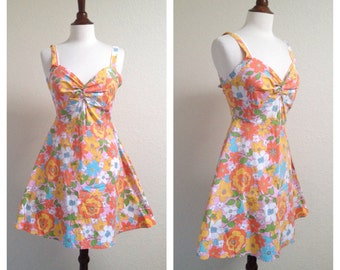 Vintage orange floral sun dress