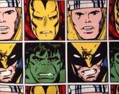 Very rare / OOP / Marvel Comics Fabric / square blocks / Superhero Fabric/ half yard