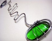 Wire and glass bookmark, Green and blue, Handcrafted