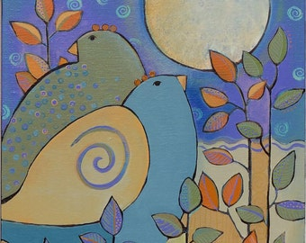 Art,Painting on Canvas, Original Acrylic, Love Birds, nature theme, 12 x 12 inches,home decor
