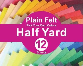 12 HALF YARD Plain Felt Fabric - pick your own color (A1/2y)