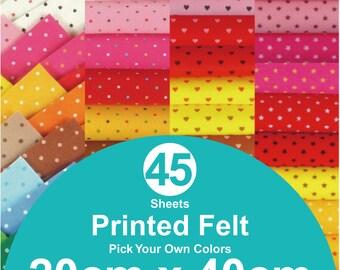 45 Printed Felt Sheets - 20cm x 40cm per sheet - pick your own colors (PR20x40)