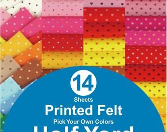 14 HALF YARD Printed Felt Fabric - pick your own colors (PR1/2y)