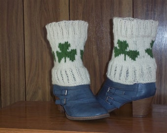 knit boot sock - white boot socks - knit green boot toppers -  legwarmers  - boot sock tops with shamrocks - boot tops