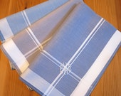 Set of 3 Assorted Color Fine Cotton Mens Handkerchiefs, Style No. 2028 with Monogram Style No. 4