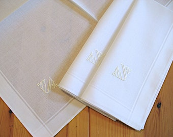 Set of 3 White Fine Cotton Mens Monogrammed Handkerchiefs Style No. 202