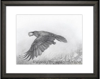 RAVEN and Moon Open edition print from original pencil drawing, Nature art, moon luna feathers, fantasy home decor, morning glory wildflower